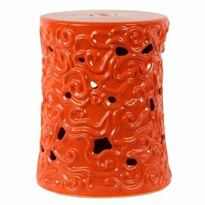 Hein Ceramic Garden Stool with Embossed Swirl Designs