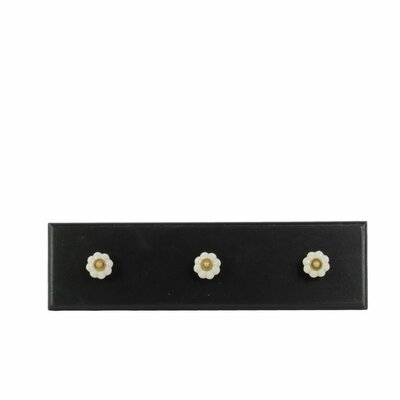 Fornear Rectangular Wooden Wall Mounted Coat Rack with 3 Ceramic Knobs