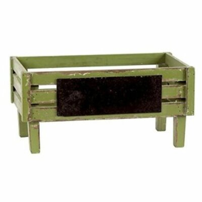 Wood Crate with Rectangular Label Color: Yellow Green
