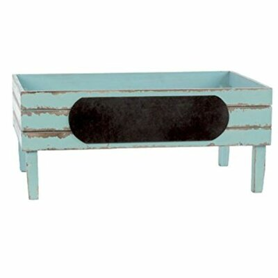 Wood Crate with Stadium Label Color: Light Blue