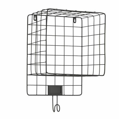 Perron Metal Wall Mounted Coat Rack with Mesh Sides Hook and Card Holder Color: Black