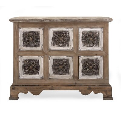 Mendell Stunning Metal and Wood 6 Drawer Accent Chest
