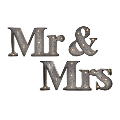 Exclusively Styled Set of 3 Mr. & Mrs. Lighted Sign