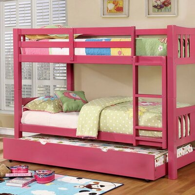 Hidden Hills Twin/Twin Bunk Bed Bed Frame Color: Pink
