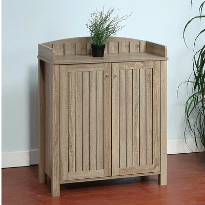 Slatted Pattern Shoe Storage Cabinet with Molded Top