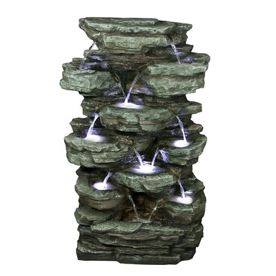 Tiered Rock Rainforest Fountain with Light