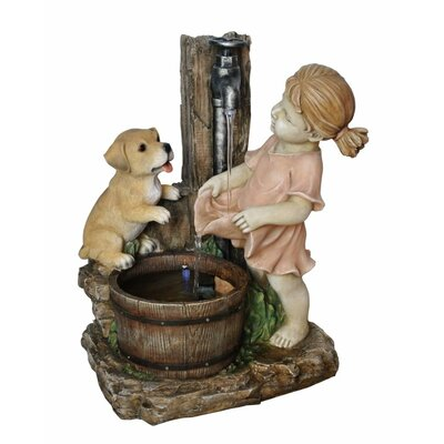 Girl with Dog Spout Bucket Fountain