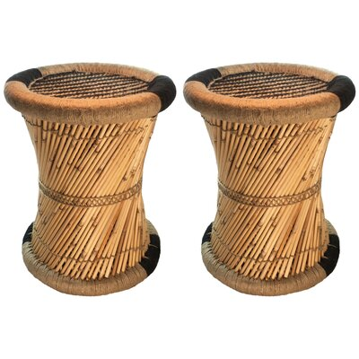 Moray Decorative Jute Striped Accent Stool Color: Black/Beige