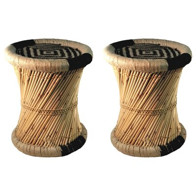 Moray Decorative Jute Accent Stool Color: Black/Beige