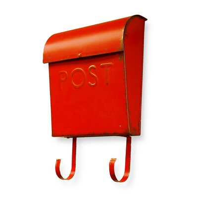 "Euro Post Wall Mounted Mailbox Size: 13"" H x 10.8"" W x 4.1"" D, Mailbox Color: Antique Red"