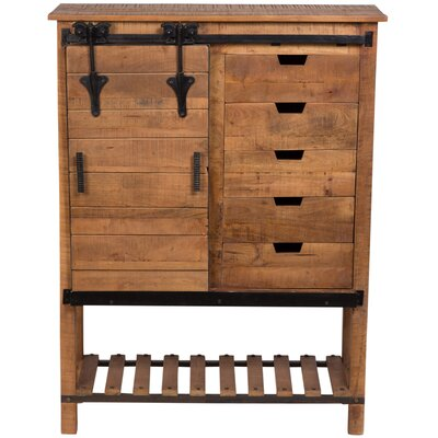 Barn Door Tall 5 Drawer Accent Cabinet