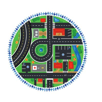 "Town Roads Circular Activity Table Size: 22.2"" H x 29.1"" W x 29.1"" D"