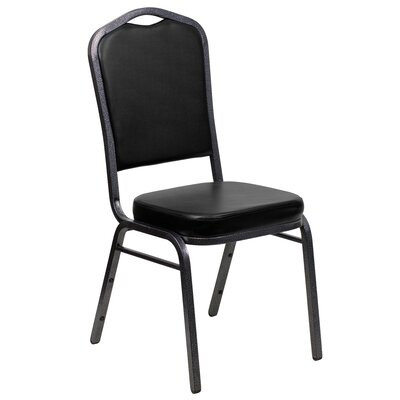 Taylor Crown Banquet Chair Seat Finish: Black, Frame Finish: Silver Vein