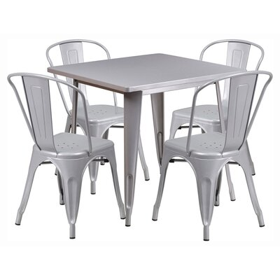 Square 5 Piece Dining Set Finish: Silver