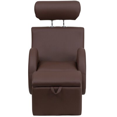 Courtland Kids Recliner Chair and Ottoman Color: Vinyl Brown