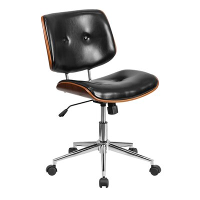 Ronin Ergonomic Wood Swivel Mid-Back Leather Desk Chair