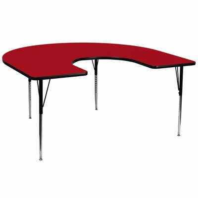Thermal Fused Laminate Top 66'' L x 60'' W Horseshoe Shaped Activity Table Tabletop Finish: Red, Height: 16.125 - 25.125''