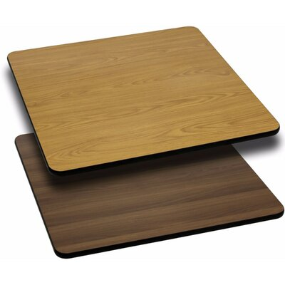 "Square Reversible Laminate Table Top Size: 1.125"" H x 24"" W x 24"" D, Finish: Natural/Walnut"