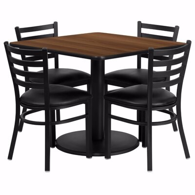 Maxey Square Laminate 5 Piece Dining Set Color: Walnut