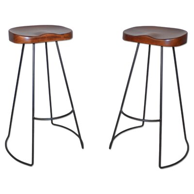 "Barraute 30.25"" Bar Stool Finish: Chestnut/Black"
