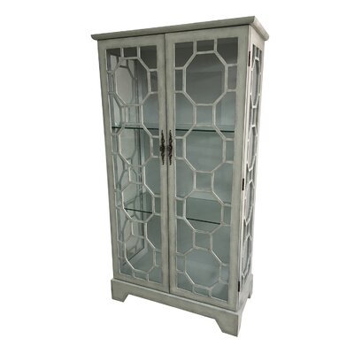 Mason 2 Door Painted Glass Curio with Fretwork Cabinet