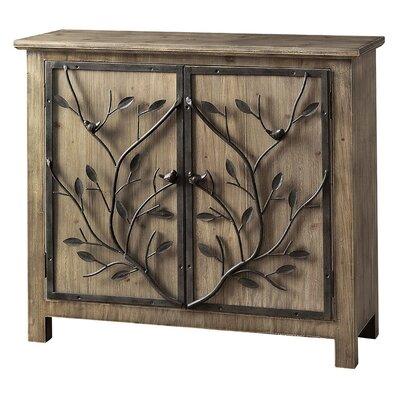 Dalia Rustic Wood and Metal Tree 2 Door Cabinet