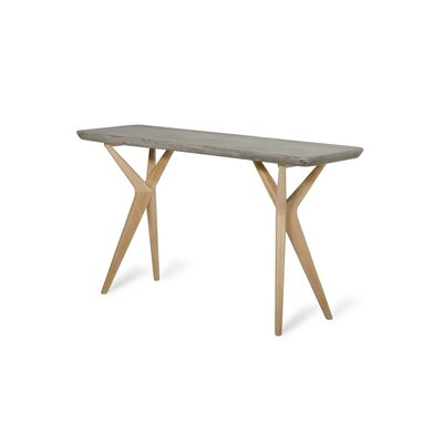 Lipscomb Console Table Table Base Color: Brown, Table Top Color: Gray