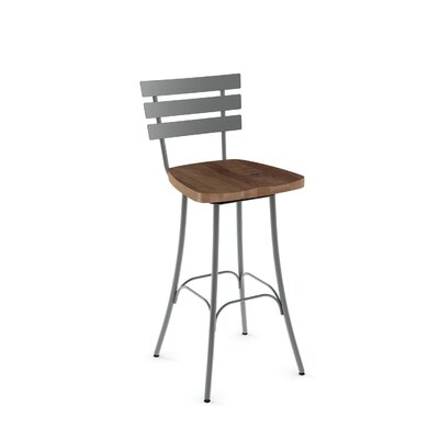 "Glenham 26"" Swivel Bar Stool Finish: Glossy Grey metal /Medium Brown"