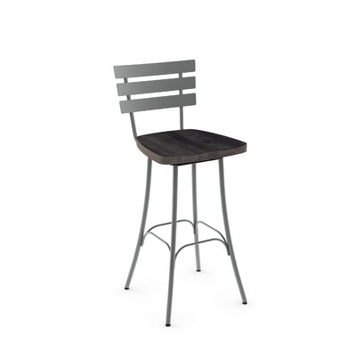 "Glenham 30"" Swivel Bar Stool Finish: Glossy Grey metal /Dark Grey Wood"