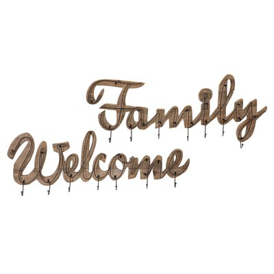 Hobart Welcome and Family 2 Piece Wall Hook Set