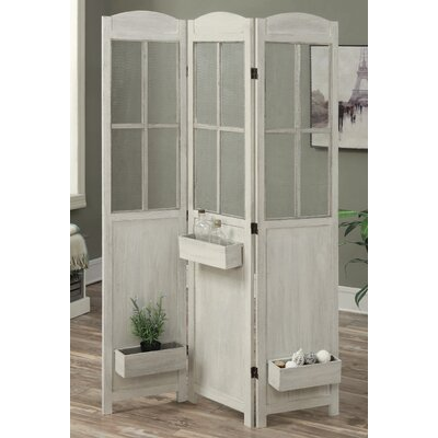 Peaslee 3 Panel Room Divider Color: Antique White
