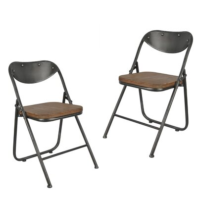 Fortier Vintage Wood Seat Folding Chairs