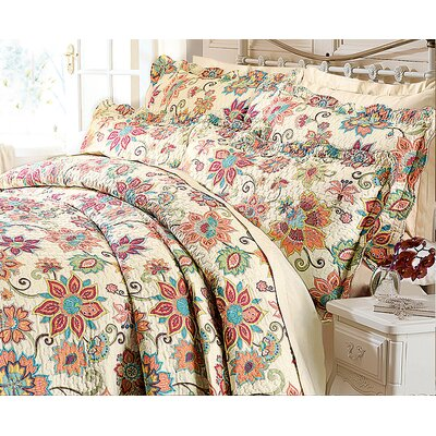 Diana Cowpe Indian Flower Quilted Bedspread Set