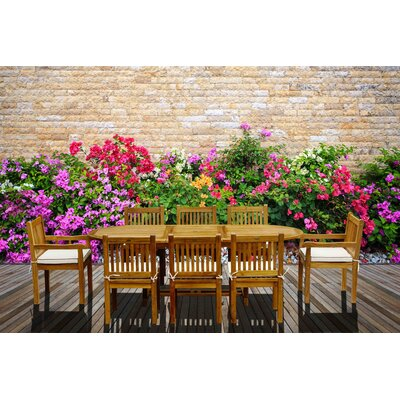 Elzas 9 Piece Teak Dining Set with Cushions
