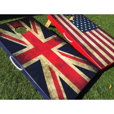 American and UK Flag 10 Piece Cornhole Set