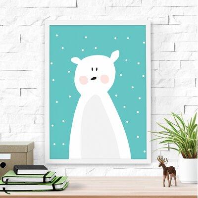 "Cute Polar Bear Framed Art Size: 16"" H x 12"" W x 1"" D, Finish: Turquoise"