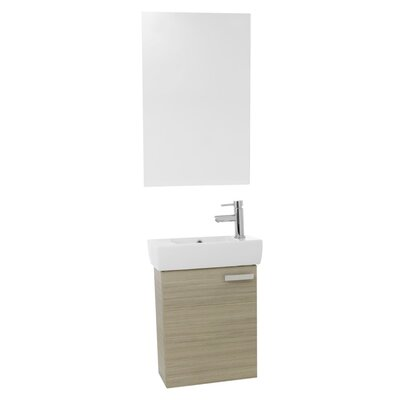 "Cubical 19"" Single Bathroom Vanity Set with Mirror Base Finish: Larch Canapa"