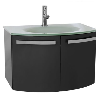 "Crystal Dance 28"" Single Bathroom Vanity Set Base Finish: Glossy Anthracite, Top Finish: White"