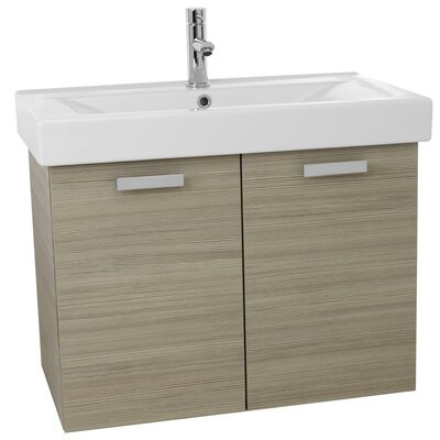 "Cubical 32"" Single Wall Mount Bathroom Vanity Set Base Finish: Larch Canapa"