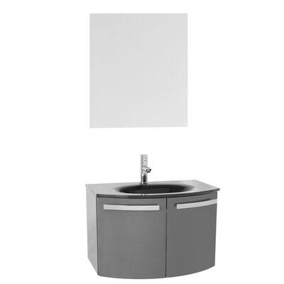 "Crystal Dance 28"" Single Bathroom Vanity Set with Mirror Base Finish: Glossy White, Top Finish: Black"