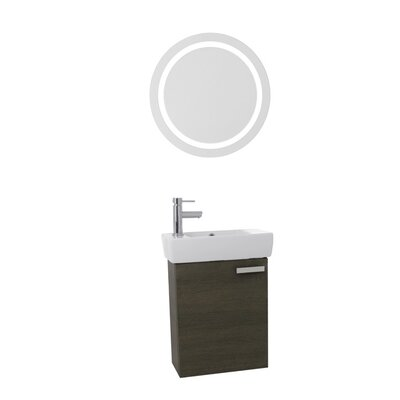 "Cubical 19"" Single Bathroom Vanity Set with Mirror Base Finish: Gray Oak"