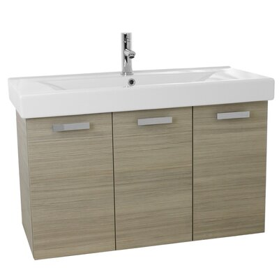 "Cubical 39"" Single Wall Mount Bathroom Vanity Set Base Finish: Larch Canapa"