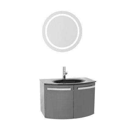 "Crystal Dance 28"" Single Bathroom Vanity Set with Mirror Base Finish: Glossy White, Top Finish: White"