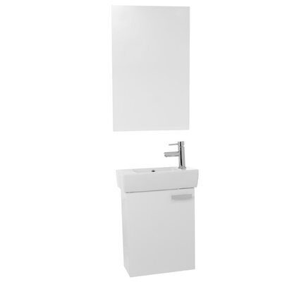 "Cubical 19"" Single Bathroom Vanity Set with Mirror Base Finish: Glossy White"