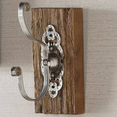 Mccall Dimpled Antiqued Iron and Reclaimed Wood Wall Hook