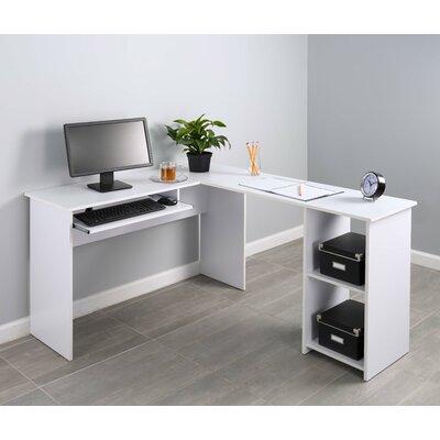 Corner Keyboard Tray L-Shaped Computer Desk Finish: White