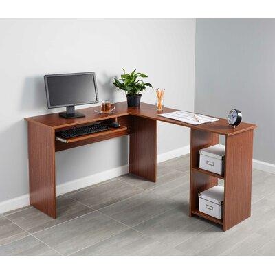 Corner Keyboard Tray L-Shaped Computer Desk Finish: Red Walnut