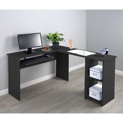 Corner Keyboard Tray L-Shaped Computer Desk Finish: Black