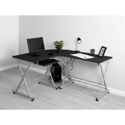 L-Shape Computer Desk Finish: Black/Silver