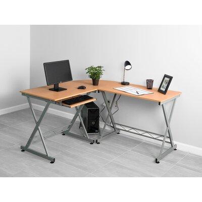 L-Shape Computer Desk Finish: Begie/Silver